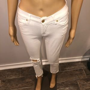 7 for all mankind Distressed white denim size 24